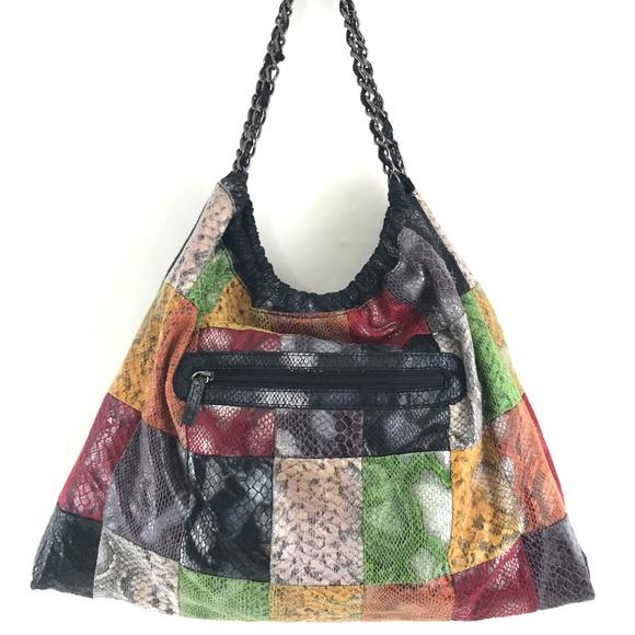 Squared Sondra Roberts Handbags - Squared Sondra Roberts Patchwork Snakeskin Hobo